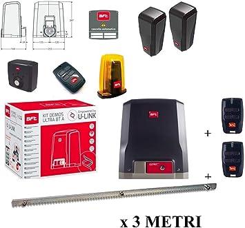 BFT Promo Deimos Ultra BT - Kit A600 motorizador de puertas correderas 24 V, 600 kg, R925268 00002 + cremallera Hiltron incluida (barra de 3 metros, 9 pernos): Amazon.es: Bricolaje y herramientas