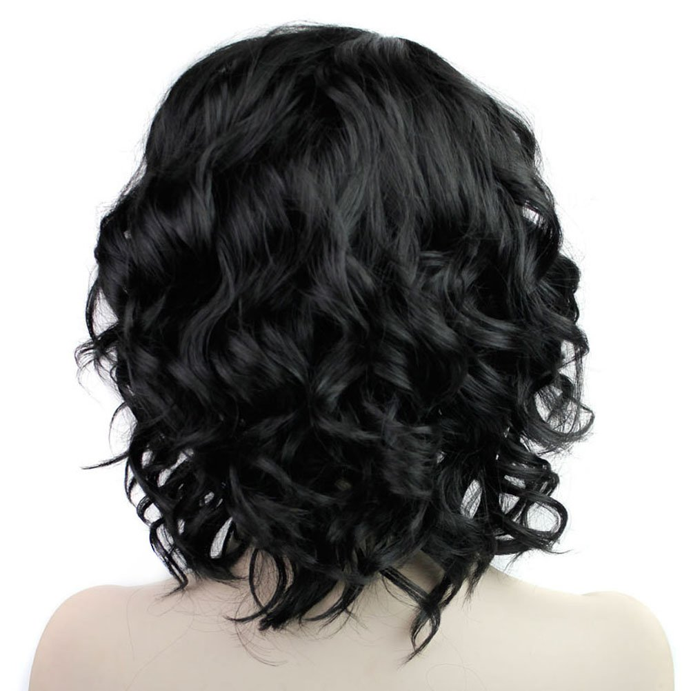 BERON Short Curly Wigs Fashion Wavy Bob Wigs with Side Bangs Short Full Synthetic Wigs for Black Women (Black) by BERON (Image #4)