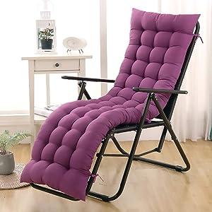 Portable Patio Rocking Chair Cushion High Back Folding Chair Cushion Bench Sun Lounger Cushion Pad Thick Padded Seat Cushion (Cushion Only) Purple 55x163cm(22x64inch)