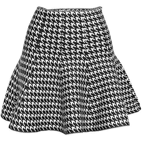 Wnter Knit Stretchy Flared Skater Skirt (Houndstooth Black) (Knit Womens Skirt)