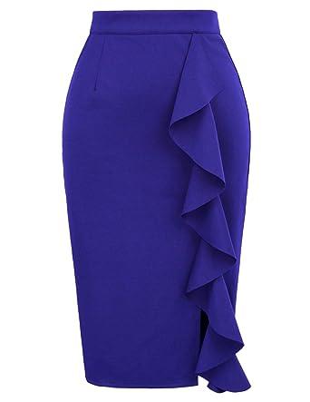 f8cf86e654 GRACE KARIN Women's Ruffle Bodycon Knee Length Midi Pencil Skirt at ...
