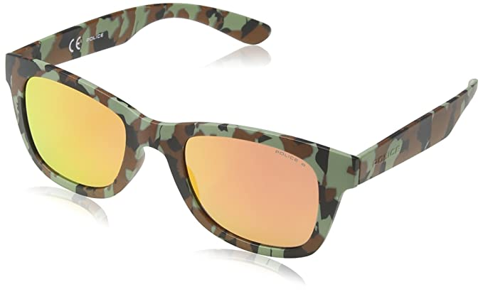 Police - Gafas de sol Wayfarer S1944 Exchange 1, GREEN/BLACK/BROWN CAMOUFLAGE FRAME/LIGHT RED/PINK MIRROR LENS: Amazon.es: Ropa y accesorios