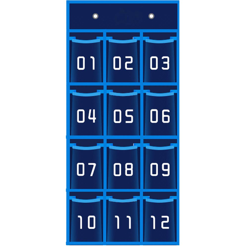 Loghot Thickening Oxford Cloth Numbered Pocket Chart Cell Phone Calculators Wall Mounted Hanging Organizer with Hooks Navy (12 Pockets)