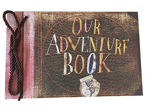 Linkedwin Our Adventure Book DIY Scrapbook/Wedding Photo Album, with Pixar Up Movie Postcards & Stickers (Black Pages)
