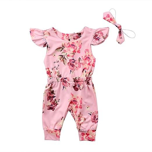 345d9a7c1bd8 Amazon.com  Honganda 2Pcs Toddler Infant Baby Girl Ruffle Sleeve ...
