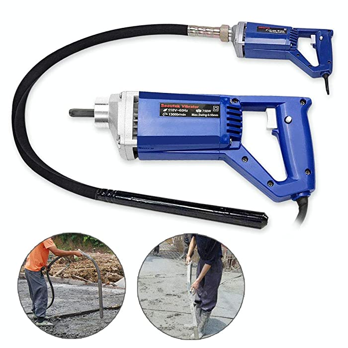 Hand Held Concrete Vibrator 1 HP 750W Electric 13000 Vibrations per Minute(750 W)