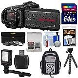 JVC Everio GZ-R550 Quad Proof Full HD 32GB Digital Video Camera Camcorder with 64GB Card + Backpack + Flex Tripod + 3 Filters + LED Light Kit