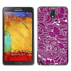 Qstar Arte & diseño plástico duro Fundas Cover Cubre Hard Case Cover para SAMSUNG Galaxy Note 3 III / N9000 / N9005 ( Wallpaper Purple White Floral Flowers Art)