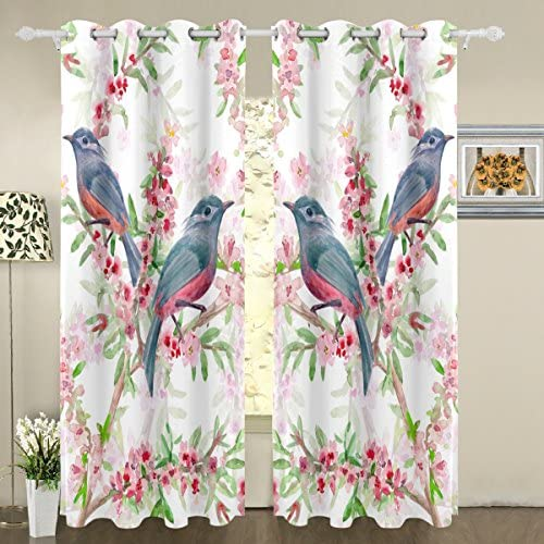 My Little Nest Romantic Flower Cute Birds Blackout Window Curtains Grommet Top Thermal Insulated Room Darkening Drape