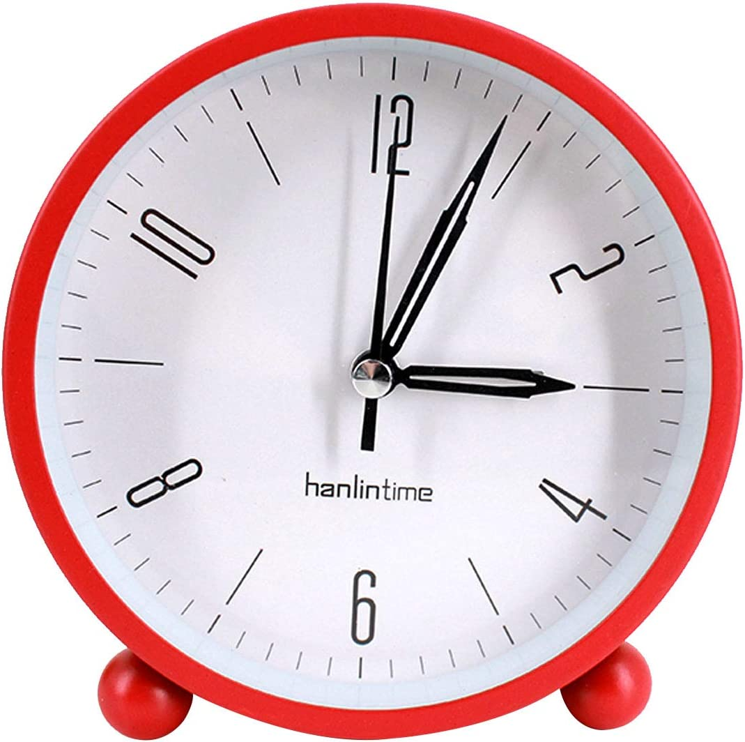 Queena 4 Round Silent Alarm Clock Night Light Non-Ticking Battery Operated Desk Clock for Bedroom Office Red