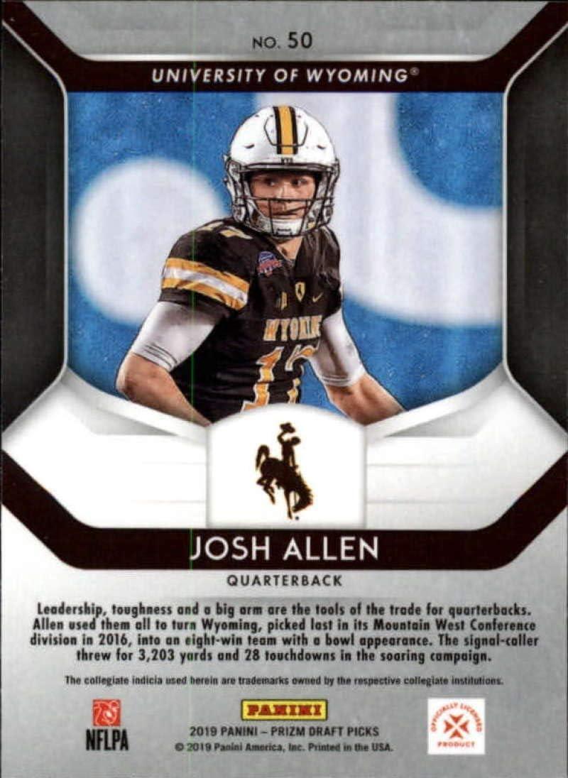 2019 Prizm Draft Picks Football #50 Josh Allen Wyoming Cowboys Official NCAA Trading Card From Panini