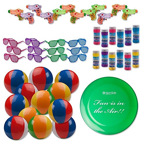 - Bulk Pool Party and Beach Party Favors Toys For Kids Pack of 49 Summer Fun Set Includes 12 Rainbow Inflatable Beach Balls, 12 Bubbles, 12 Water Squirt Guns, 12 Shutter Shade Sunglasses and 1 Frisbee