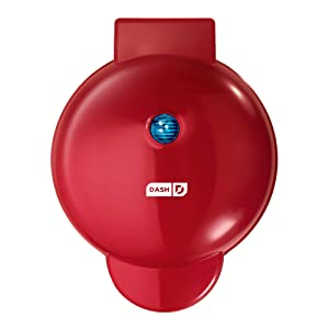 """Dash DMG8100RD 8"""" Express Electric Round Griddle for Pancakes, Cookies, Burgers, Quesadillas, Eggs & other on the go Breakfast, Lunch & Snacks with Indicator Light + Included Recipe Book Red"""