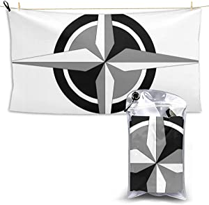 Compass Vector Art Microfiber Oversized Beach Towels, Quick Dry Super Absorbent Sand Free Towel for Swimming & Outdoor