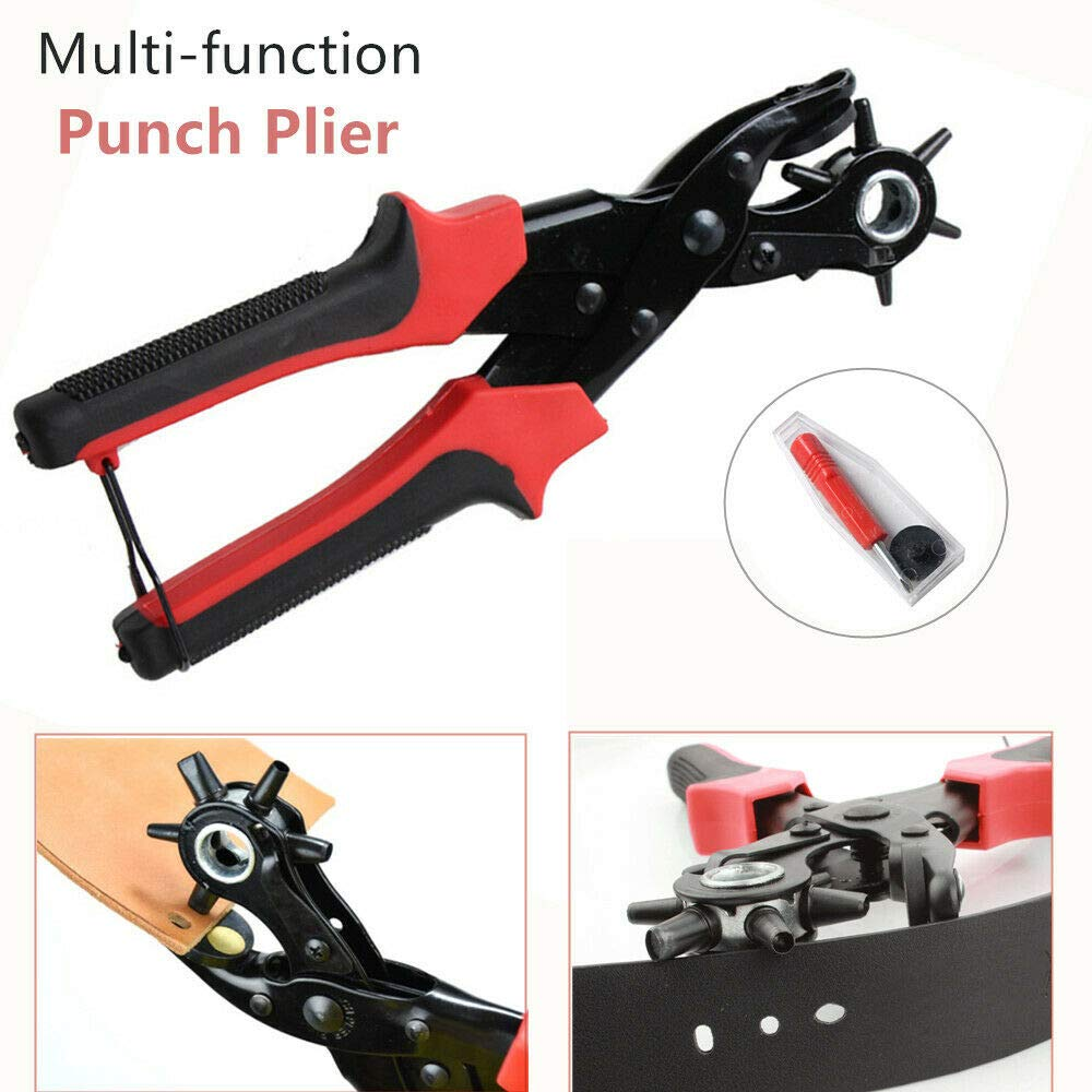 Leather Hole Punch by Skilled Crafter Easily Punches Perfect Round Holes. FREE Ruler & Awl Tool. Our Best Professional Puncher for Belt, Saddle, Tack, Watch Strap, Shoe, Fabric (Red Handle) by Toplimit