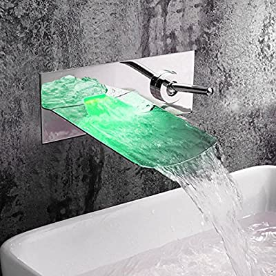 TougMoo Concealed Torneiras Basin Waterfall Led Faucet. Wall Mounted 3 Colors Changed Led Water Power Bath Sink Mixer Water Tap