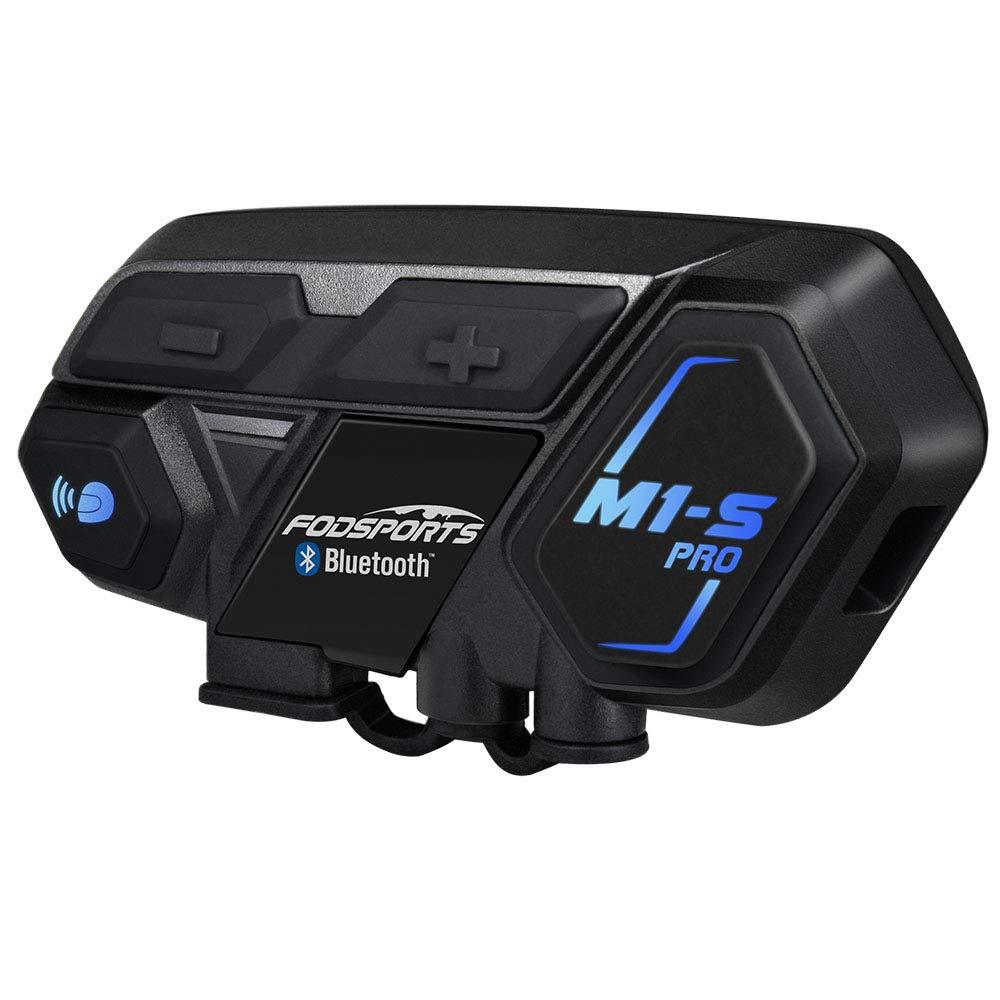 Motorcycle Bluetooth Intercom, Fodsports M1S Pro 2000m 8 Riders Group Motorbike Helmet Communication System Headset Universal Wireless Interphone (Waterproof/Handsfree/Stereo Music/GPS/2 Mic) by FODSPORTS