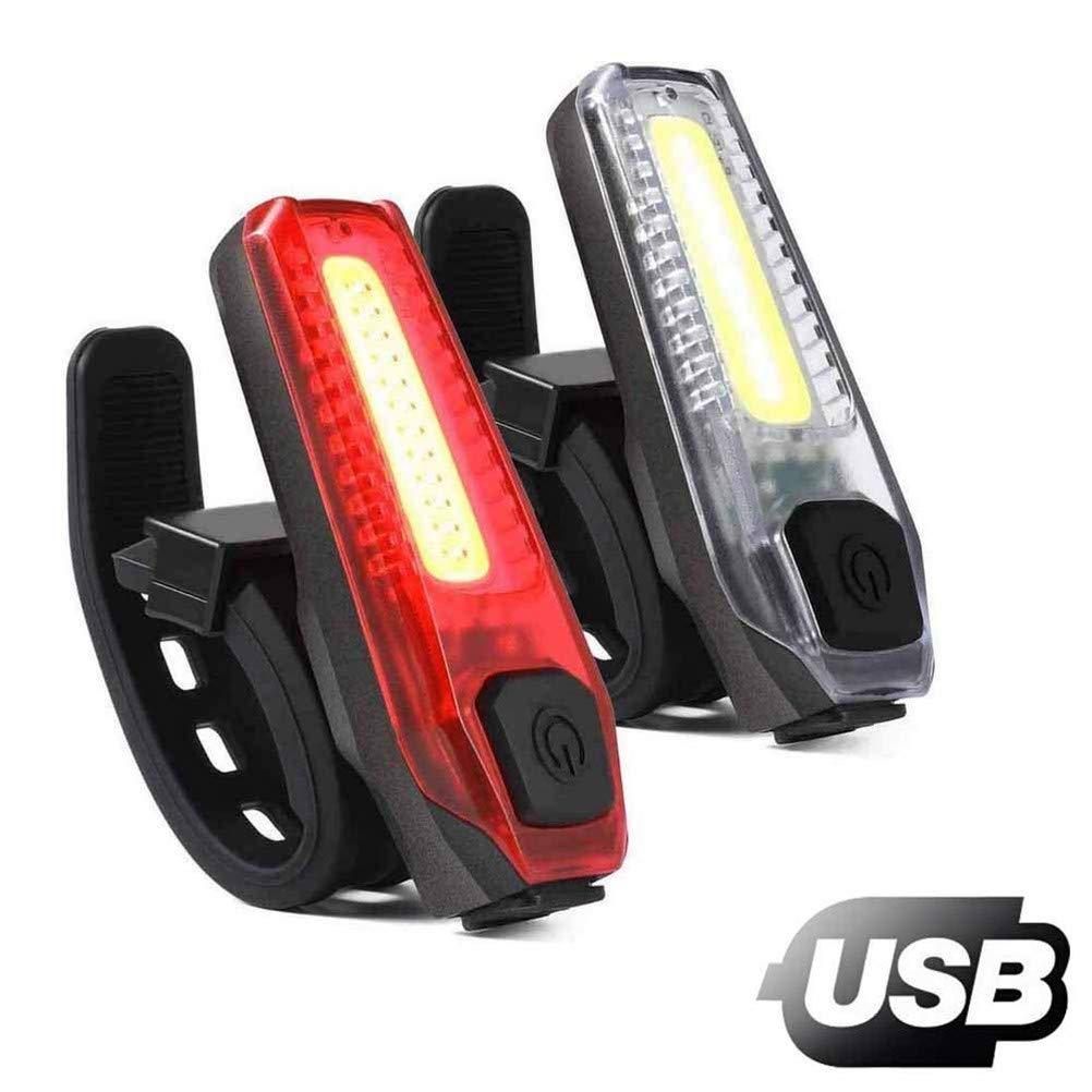 AimdonR Luci Bici, Luci per Bicicletta, Set di Luci per Bicicletta, Luci Bicicletta LED Ricaricabili USB Super Luminose Luce Bici Anteriore e Posteriore Resistenti all'Acqua