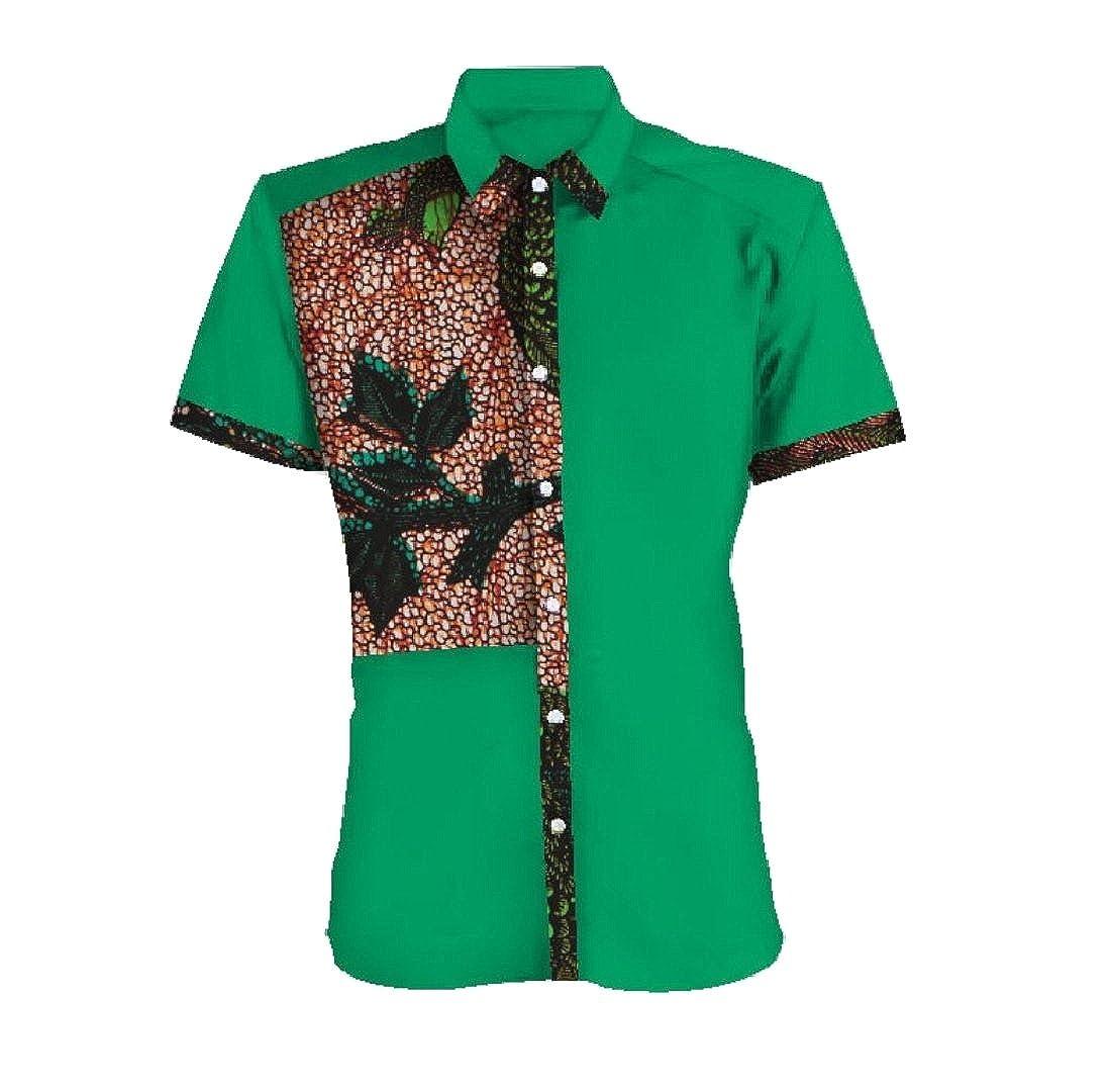 Doufine Men Tops Plus Size Batik African Print Dashiki Button-Down-Shirts