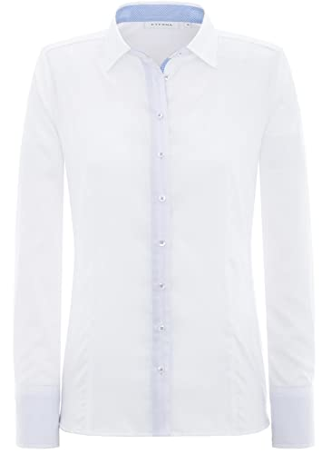 ETERNA Comfort Fit Bluse Langarm Hemdkragen mit Patch weiß