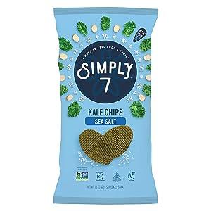 Simply 7 Kale Chips - Made from Real Kale - Non-GMO, Gluten Free, Vegetarian, Vegan, Sugar Free, Plant-Based, Cholesterol Free, Kosher, Low Sodium - Sea Salt, 3.5 Ounce Bag (Pack of 12)