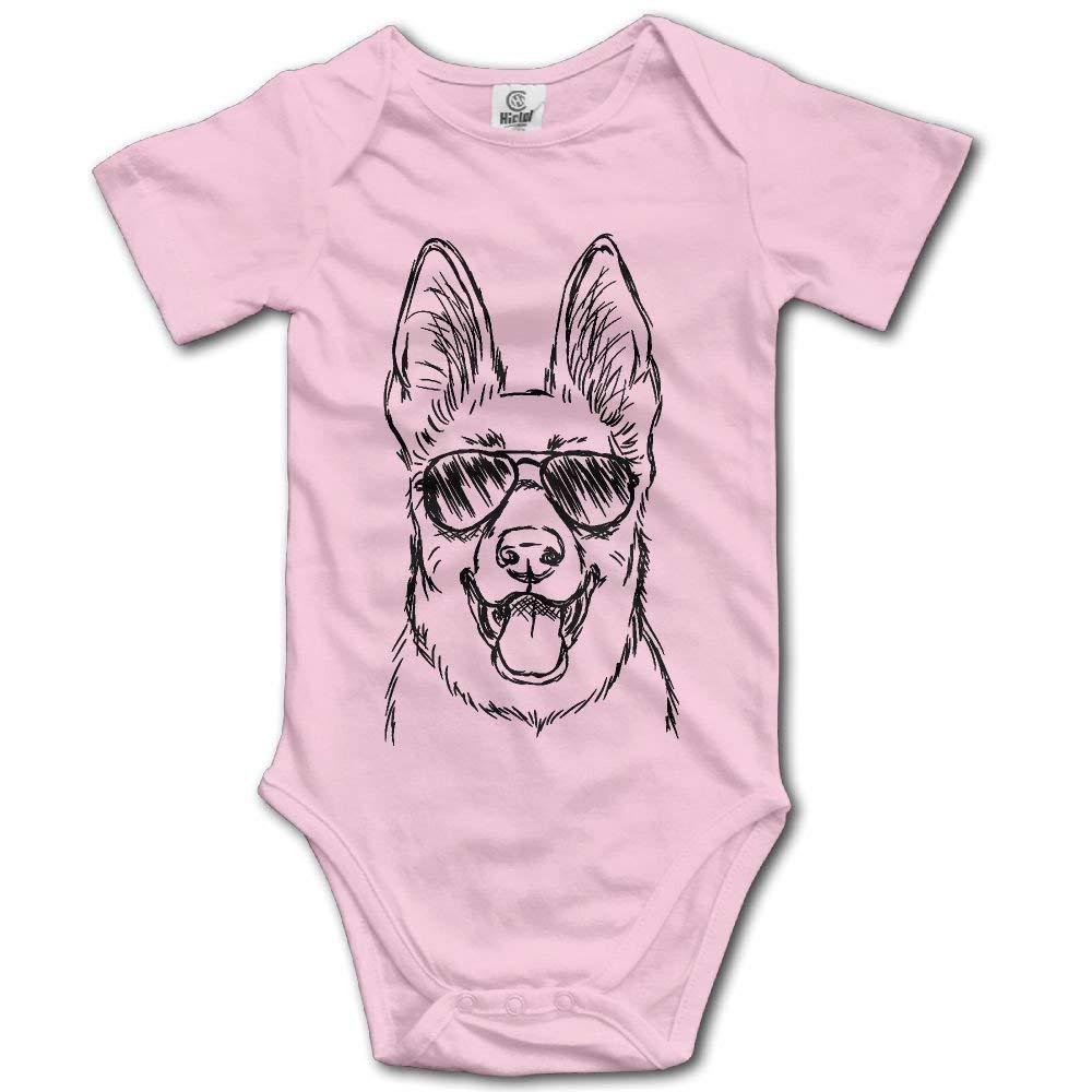 Cap shorts German Shepherd Dog Wear Glasses Unisex Newborn Baby Rompers Short Sleeve Jumpsuit Toddler Outfits