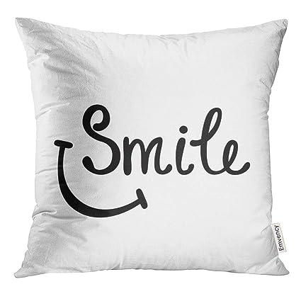 Amazon.com: VANMI Throw Pillow Cover Smile Inspirational ...