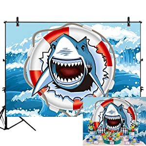 Allenjoy 7x5ft Boys Girls Children Happy 1st Shark Birthday Party Baby Shower Photography Backdrop for Kids Photos Cake Party Decoration Sweet Table Banner Background Photo Booth photocall
