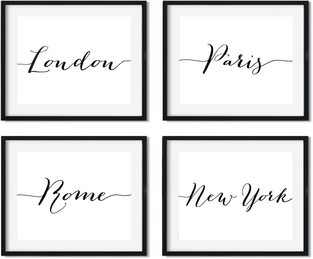 Andaz Press Modern Black and White Living Room Wall Art Decor Posters, 8.5x11-inch, London Paris Rome New York, 4-Pack, Christmas Birthday Gift for Him Her, Unframed