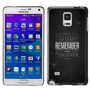 TECHCASE**Cubierta de la caja de protección la piel dura para el ** Samsung Galaxy Note 4 SM-N910 ** Tough Remember Inspirational Stone Grey