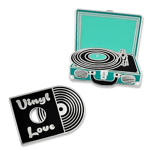 pinmart de Retro disco de vinilo y tocadiscos Trendy esmalte ...