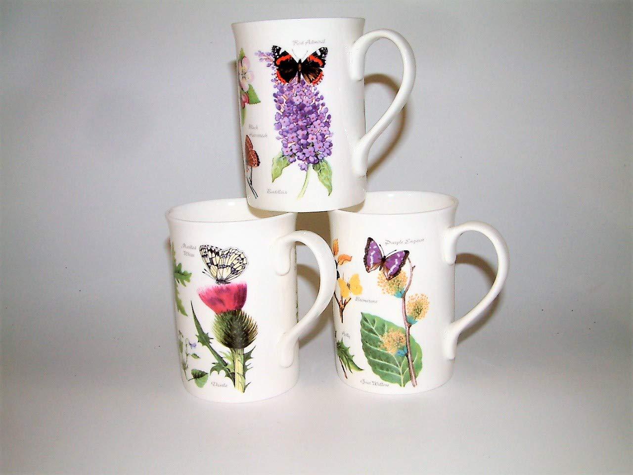Bone china mugs with wild flowers & butterflies design a set of 3 mugs dishwasher safe Old Sun Pottery M1033