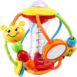 Yiosion Baby Toys 6 to 12 Months, Baby Rattles Activity Ball, Shaker, Grab and Spin Rattle,Crawling Educational Learning Sensory Toy Gift for 3 6 9 12 Months Newborn Babies Infants Boys Girls