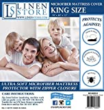 Microfiber Zippered Mattress Cover, Bed Bugs Shield, Dustmites Protector, Hypoallergenic (King)