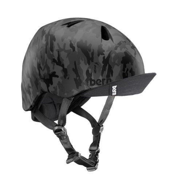 Bern Unlimited Jr. Nino Summer Helmet with Visor, Matte Black Camo, XS/S