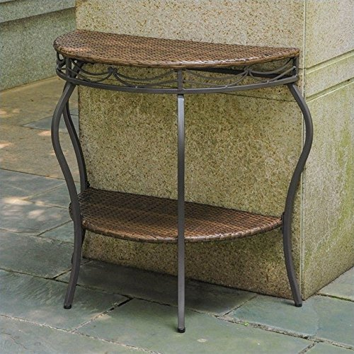 International Caravan Valencia Half Moon Patio Table in Antique Brown