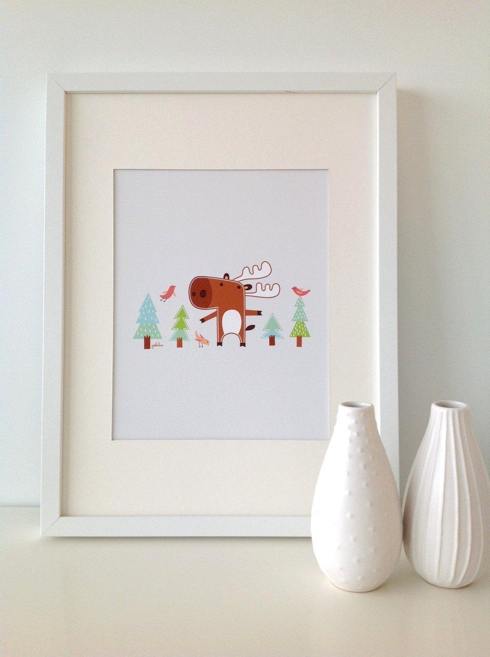 Benjamin The Moose // MOOSE Print // Moose Wall Art // Woodland Baby Nursery Decor