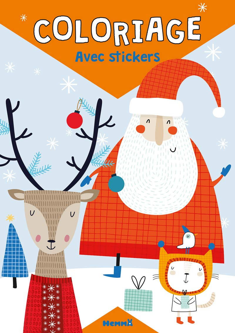 Coloriage Avec Stickers Pere Noel Renne Chat French Edition
