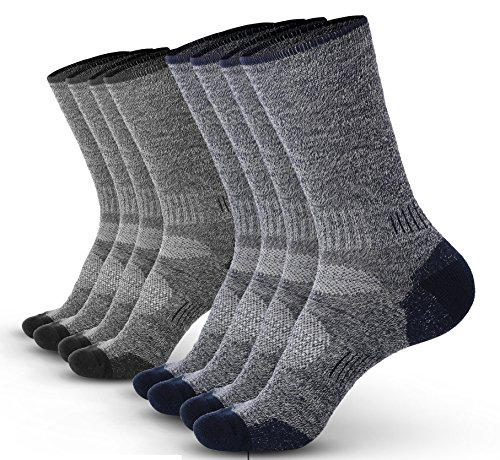 Pembrook Wool Sport Socks - S/M (4-Pack - 2 Navy, 2 Gray) - Soft, Warm, Thermal Merino Wool - Technical Cushion and Support Features - Great for hiking, work, skiing, hunting. Sized for Men and Women.