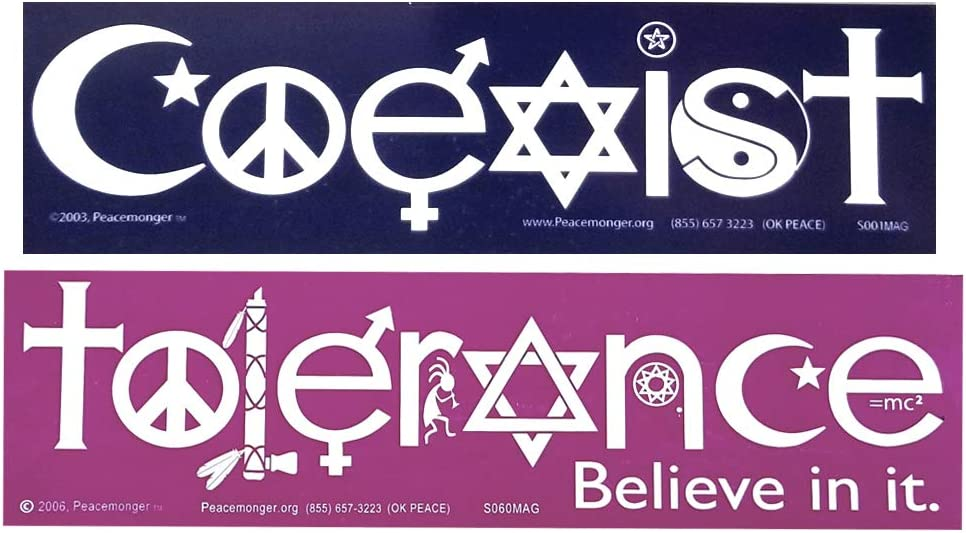 S001-S060MAG Coexist and Tolerance Interfaith Symbol Glyph Magnet 2-Pack
