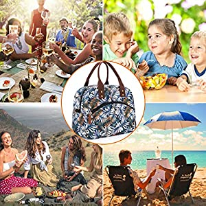 Insulated Lunch Bag with Detachable Shoulder Strap & Carry Handle,Leak Proof Reusable Lunch bag, Eco-friendly Cooler Bag Tote Bag,School Lunch Box for Kids,Men,Women(white leaves) (Color: white leaves)