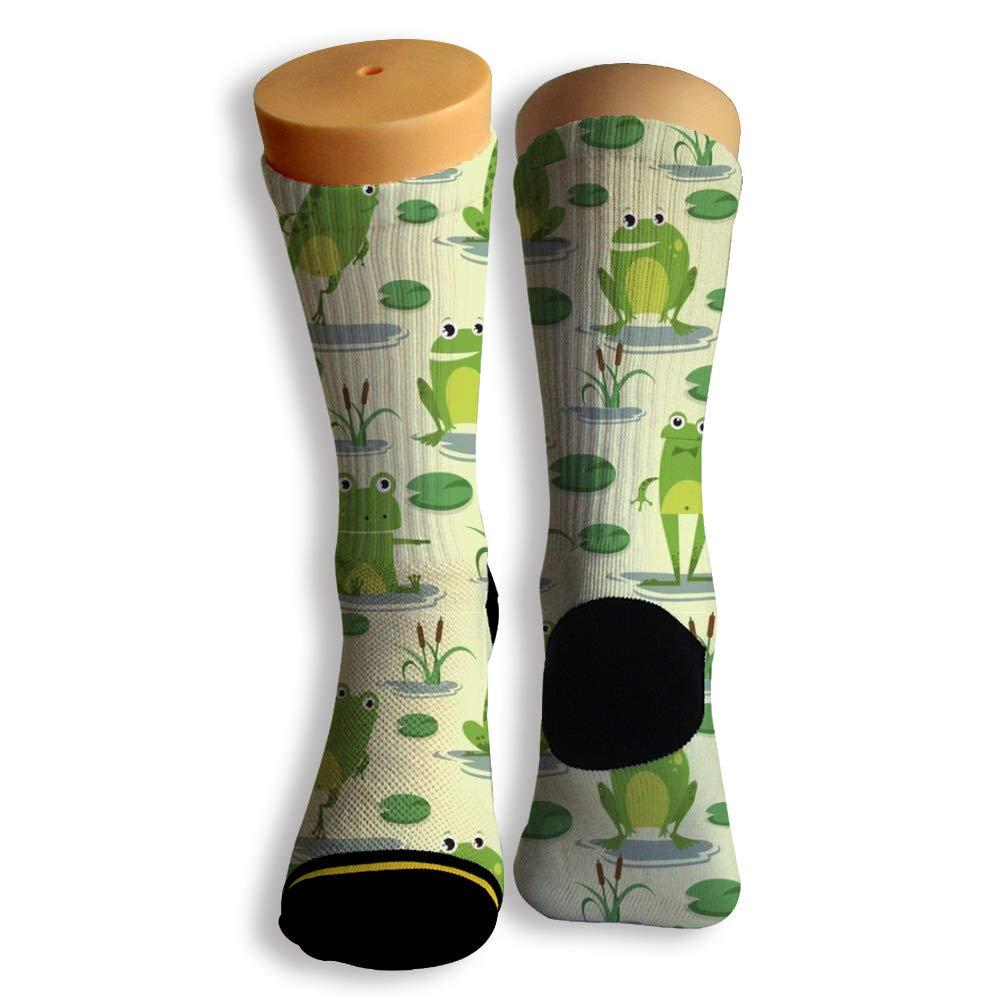 Basketball Soccer Baseball Socks by Potooy The Happy Green Frogs 3D Print Cushion Athletic Crew Socks for Men Women