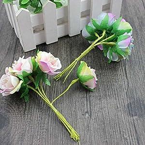 6 Pcs/LotMini Silk Daisy Artificial Rose Flowers Bouquet DIY Wedding Decoration Paper Flower For Scrapbooking Flower 3