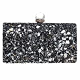 FASHIONROAD Evening Clutch, Womens Rhinestone Clutch Purse, Elegant Bridal Prom Handbag Black