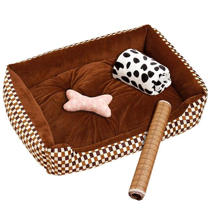 Cama perro Color marrón ranurada Ortopédica, Rectángulo pequeño/Grande, Cojines para Perros y Perros, Parte Inferior Antideslizante (Color : B, ...