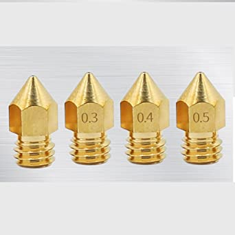 Boquillas de latón para impresora 3D, 0,2 mm, 0,3 mm, 0,4 mm, 0,