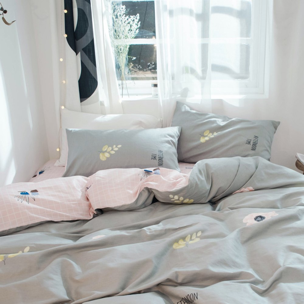 EnjoyBridal Grey Cotton Duvet Cover Flower Pattern Full Queen Size Comforter Cover with Zipper Pink Grid//Plaid Bedding Cover Sets for Teens Kids Girls Zipper Closure Soft Touch,Washed Material