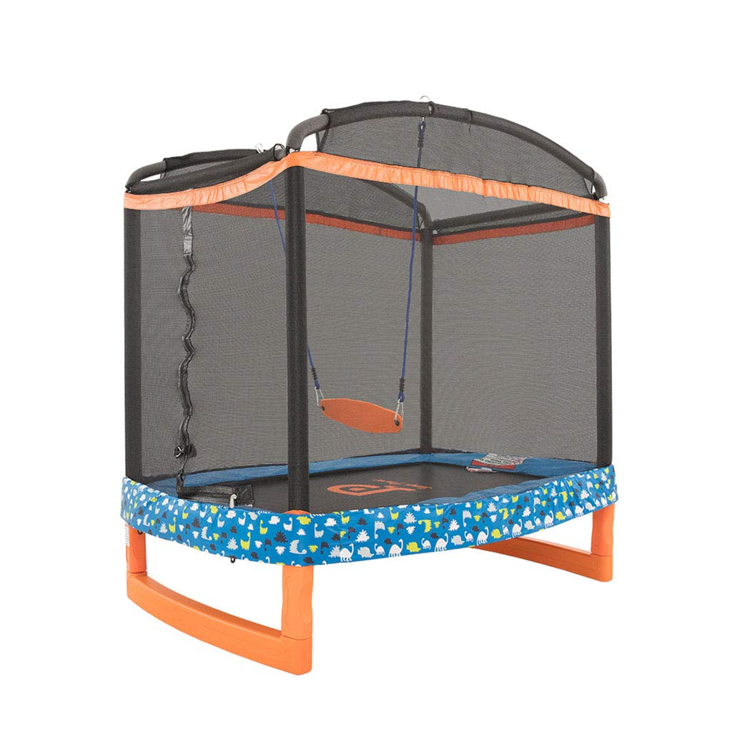 orange 182.8127186cm Trampoline Swing trampoline Household trampoline Bounce Bed Jumping Bed Toy Crawling mat with Predective net 70 inches (color   orange, Size   182.8  127  186cm)
