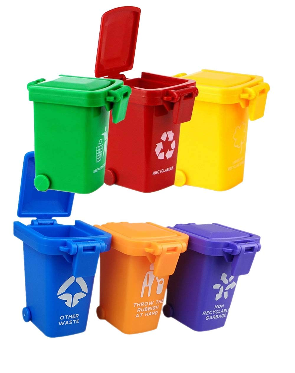 Nuanmu Garbage Can Set 6 Color Small Trash Can Garbage Truck Toy