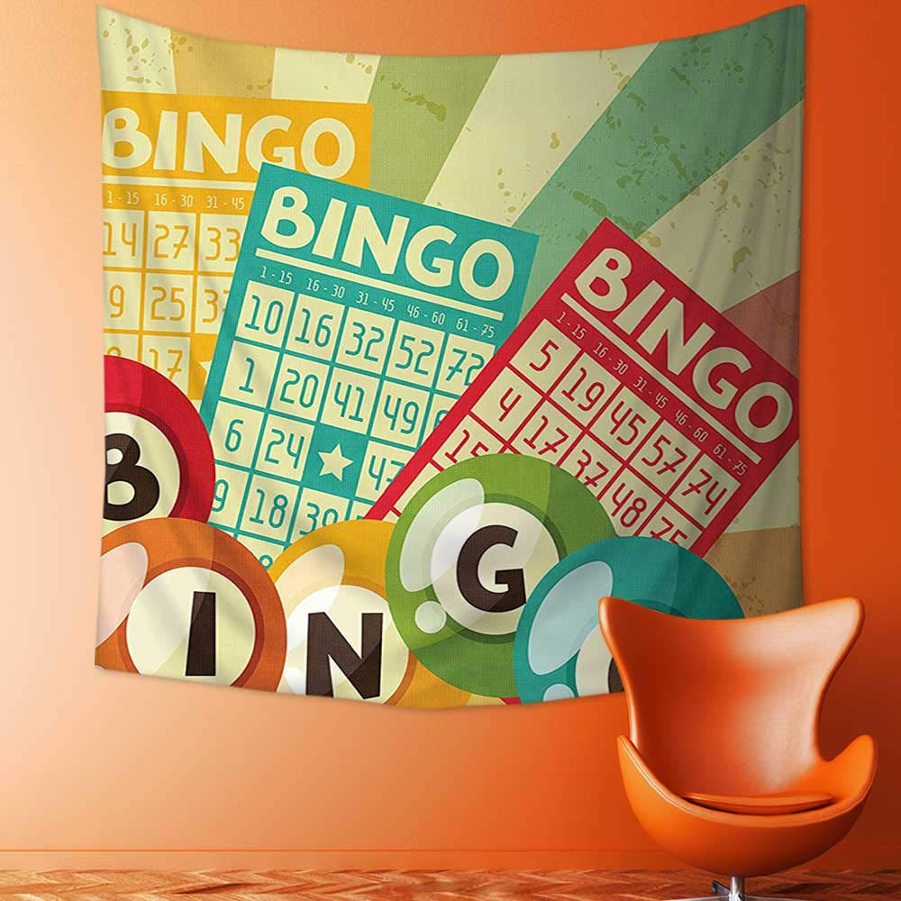 Printsonne Decor Tapestry Wall Hanging by Bingo Game with Ball and Cards Pop Art Stylized Lottery Hobby Celebration Theme Home Decoration Wall Tapestry Hanging